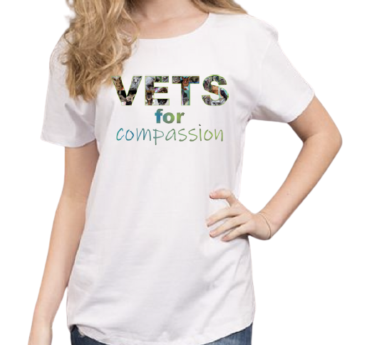 Vets For Compassion t-shirt women's white front